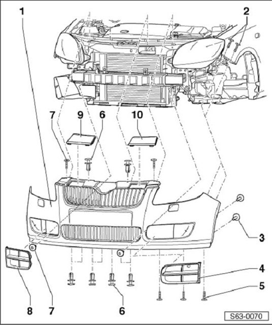 Схема монтажа переднего
