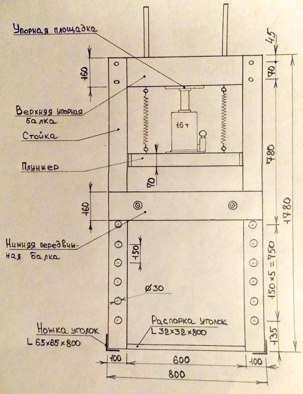 Гидравлический пресс чертежи и размеры своими руками 180