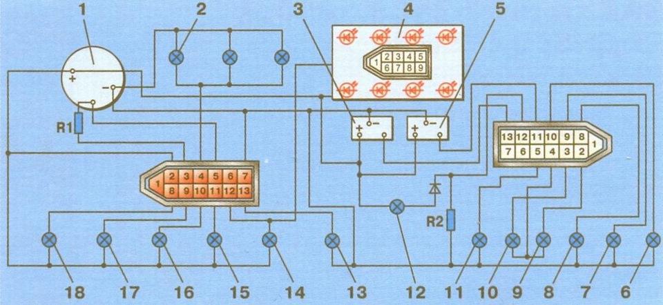 Приборная панель 2109 схема