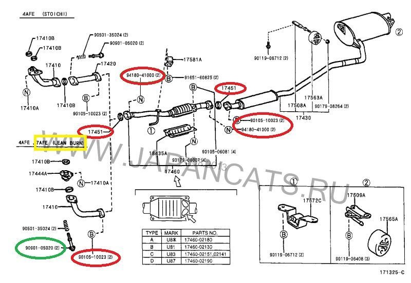 Схема глушителя 7A-FE lean