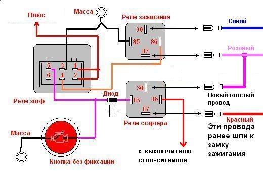 Схема с педалью тормоза