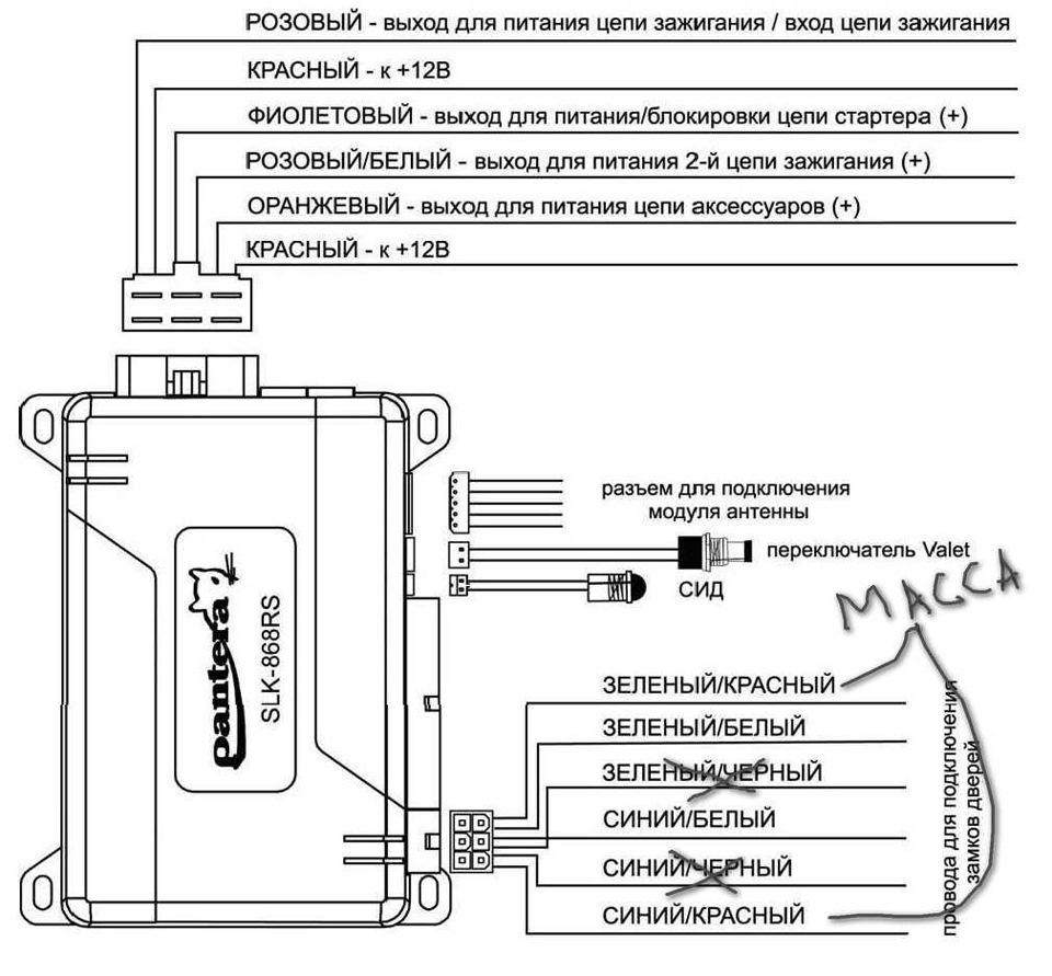 Подключение сигнализации на китайский скутер с описанием всех клем.