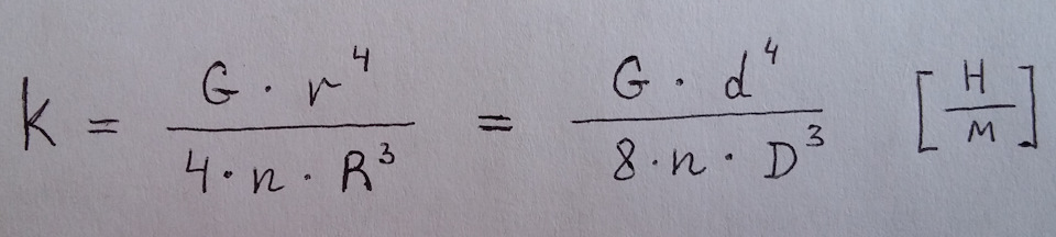 Формула для расчета жесткости пружины