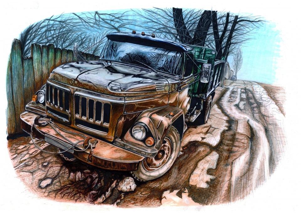 Открытки красивые, прикольные рисунки грузовиков