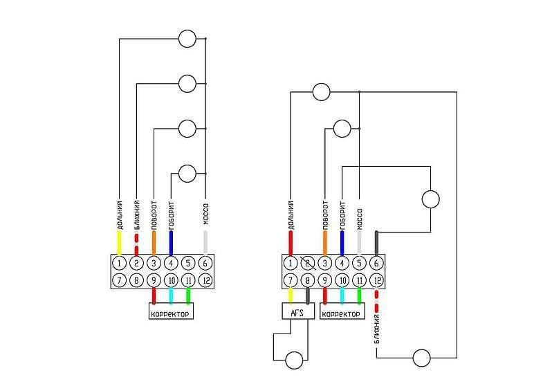 схема рефлектора и ксенона