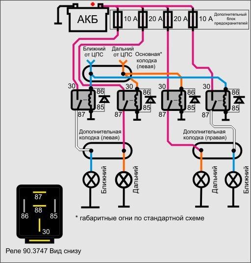 Схема подключения реле.
