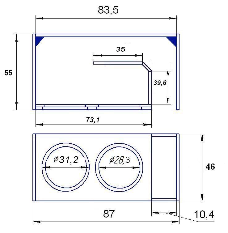 Как сделать короб под сабвуфер схема 123