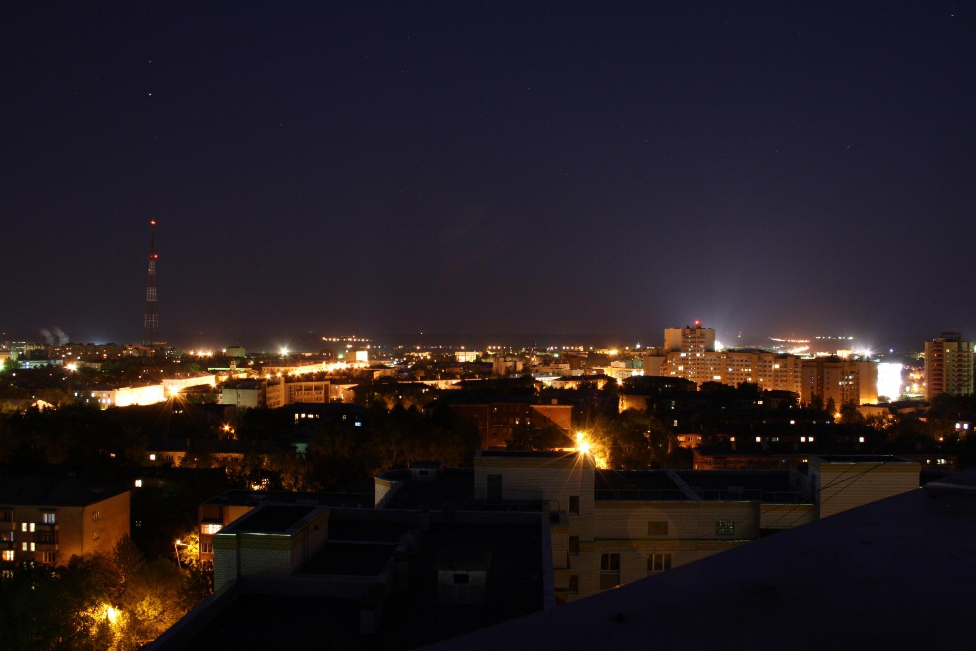 Фото с крыши на ночной город белорусский