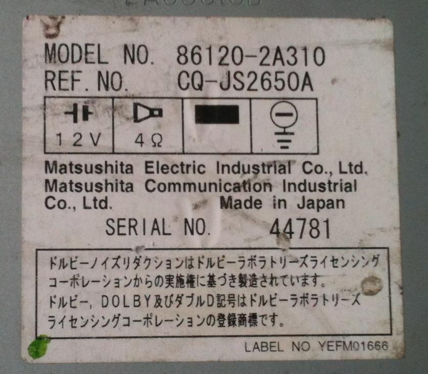 Toyota 86120-2A230