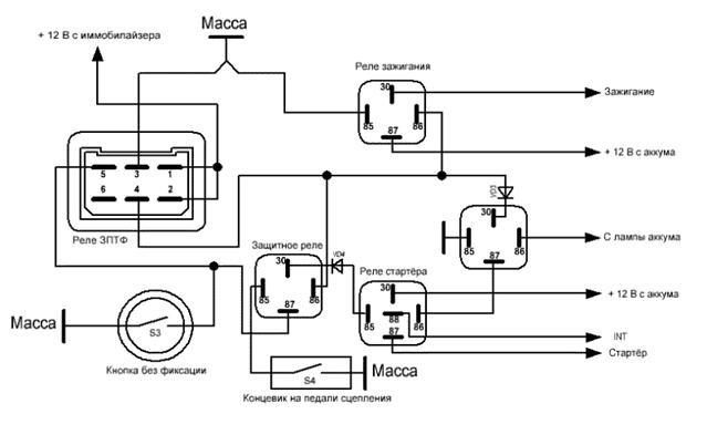 Схема запуска двигателя с кнопки своими руками