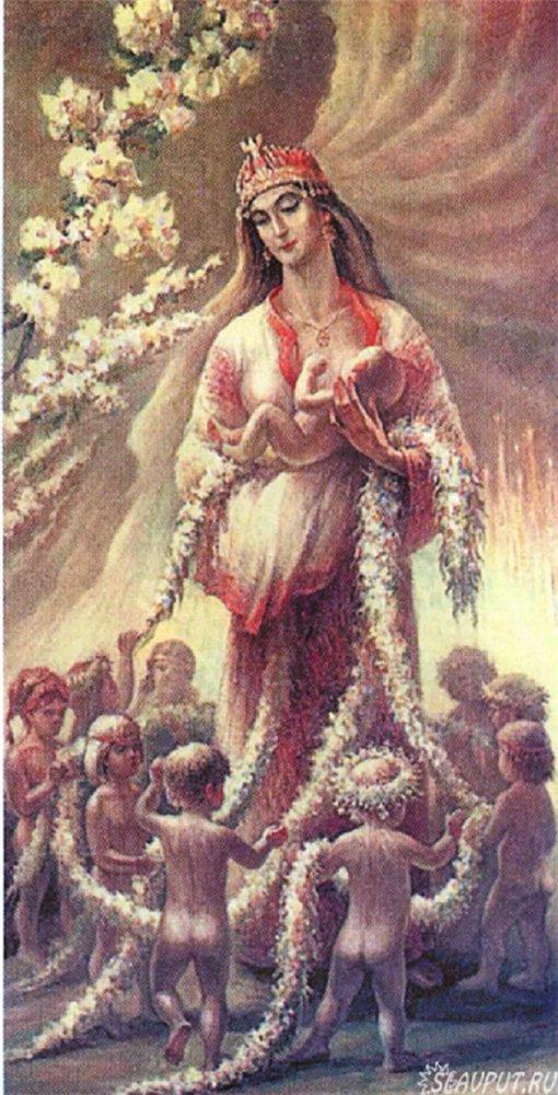 Богиня плодородия вышивка