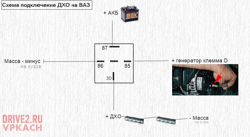 Схема подключение ДХО на ВАЗ