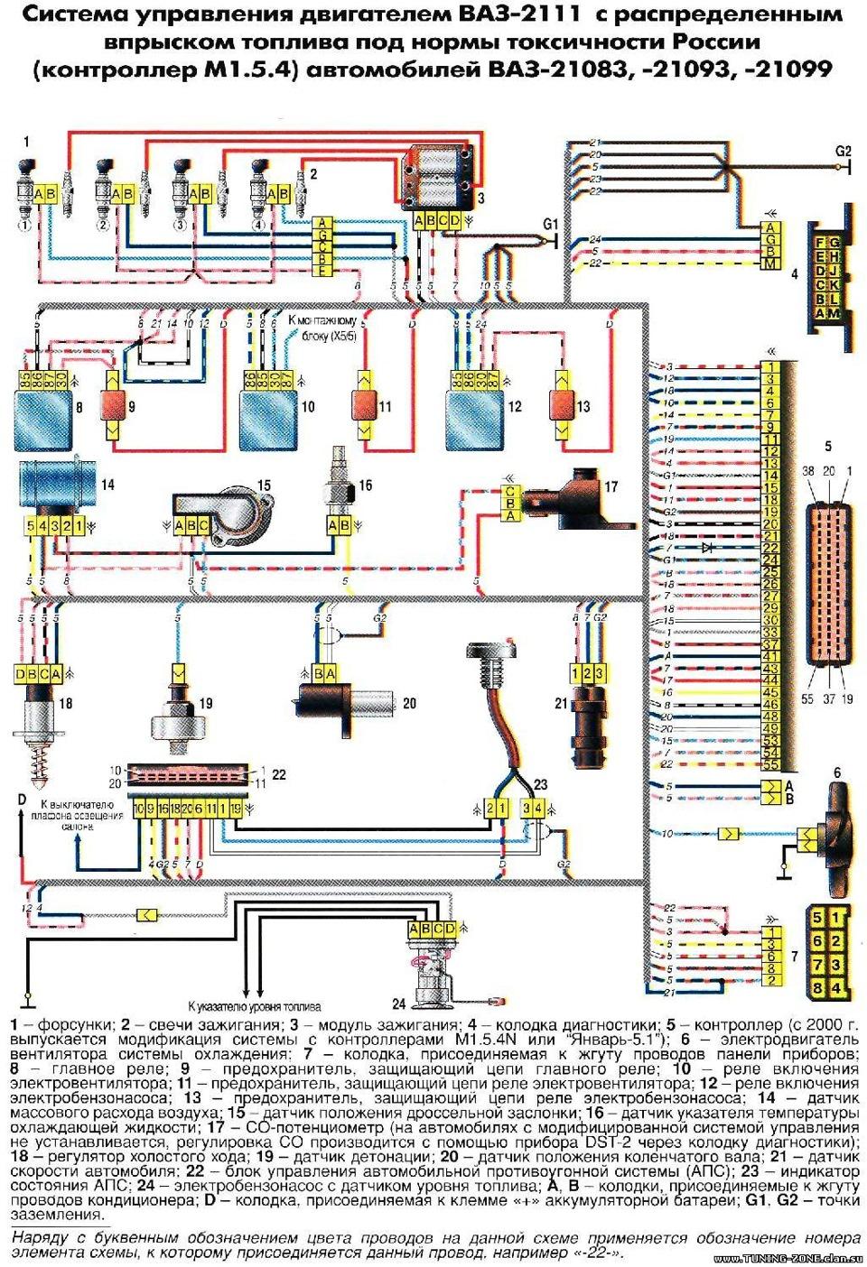 Схема топливной системы 21074
