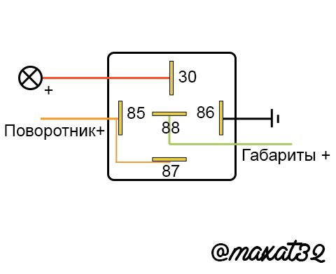 Схема реле дополнительно габариты и поворотники