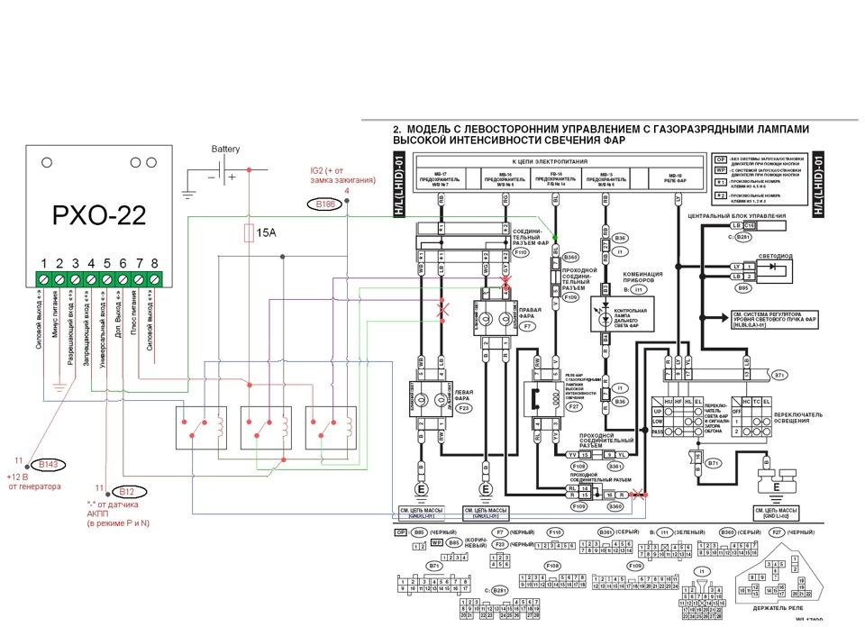 Схема подключения РХО-22 в