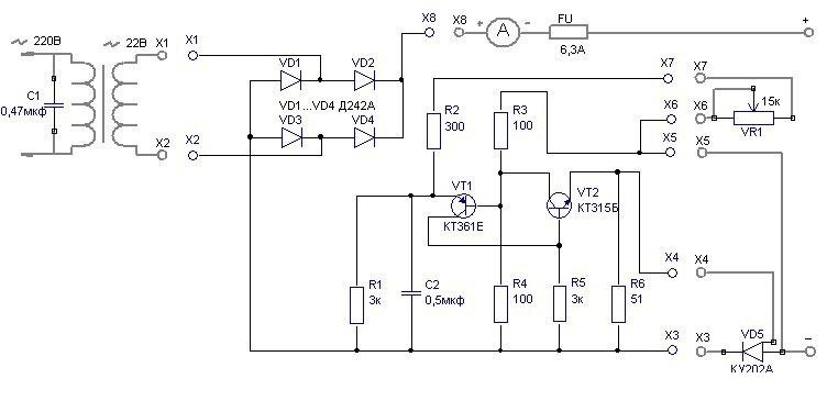 принципиальная схема зарядного устройства - Схемы.