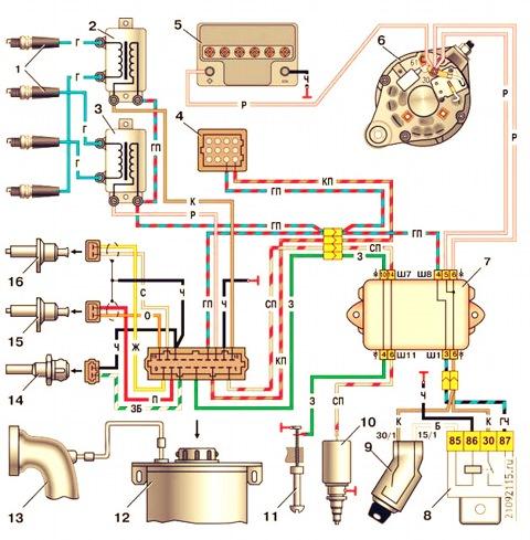 Схема микропроцессорной системы управления двигателем с контроллером мс4004.