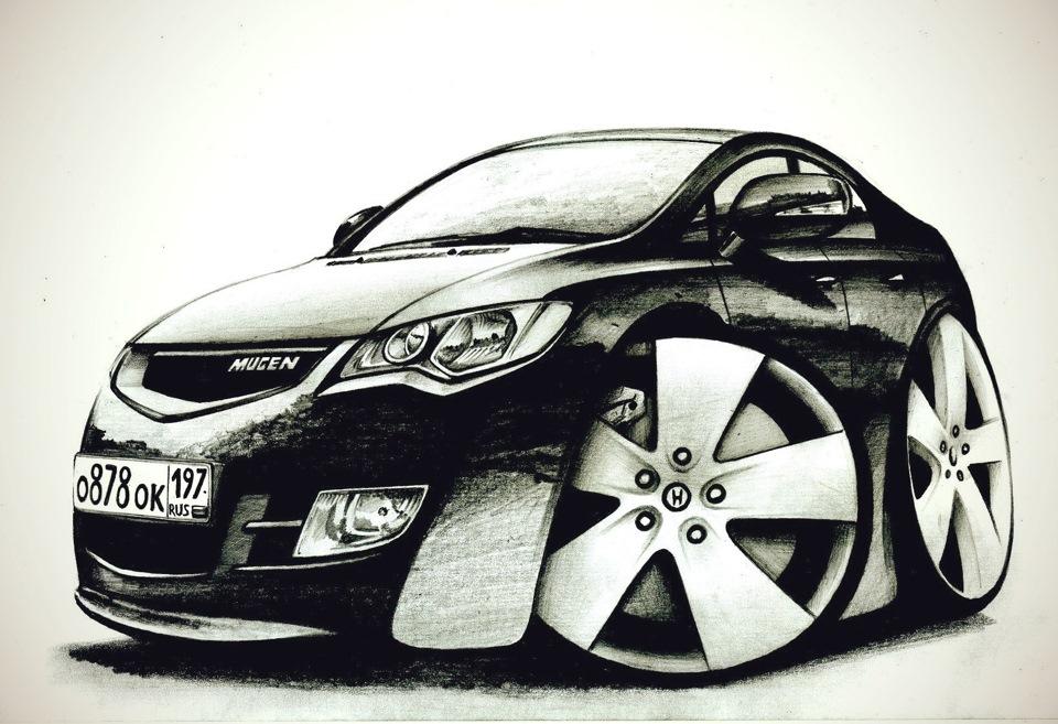 Нарисованная хонда цивик