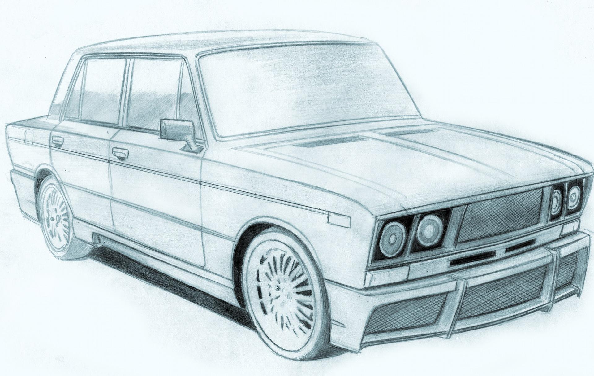 картинки карандашом наши русские машины будет