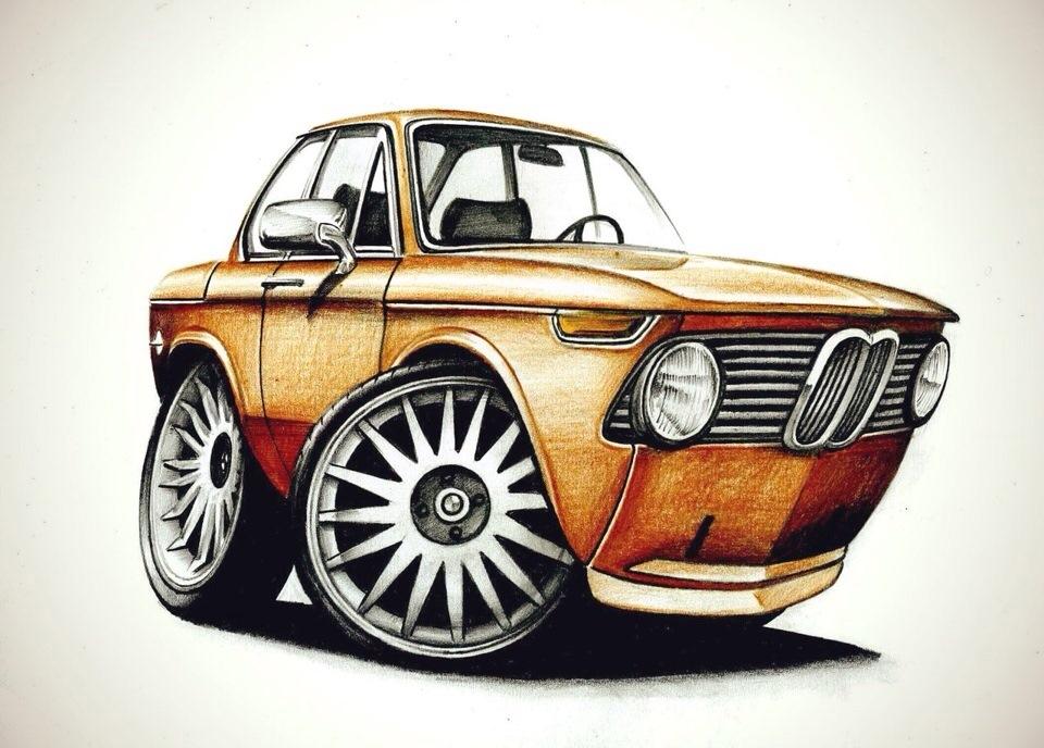 Днем, прикольные автомобили рисунки