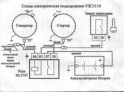 Схема защита стартера ваз 2110.