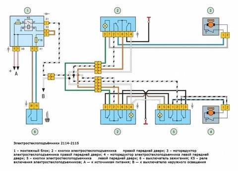 Если подсветка не работает, обозначенных на схеме как 3Схема подключения электростеклоподъемников на.