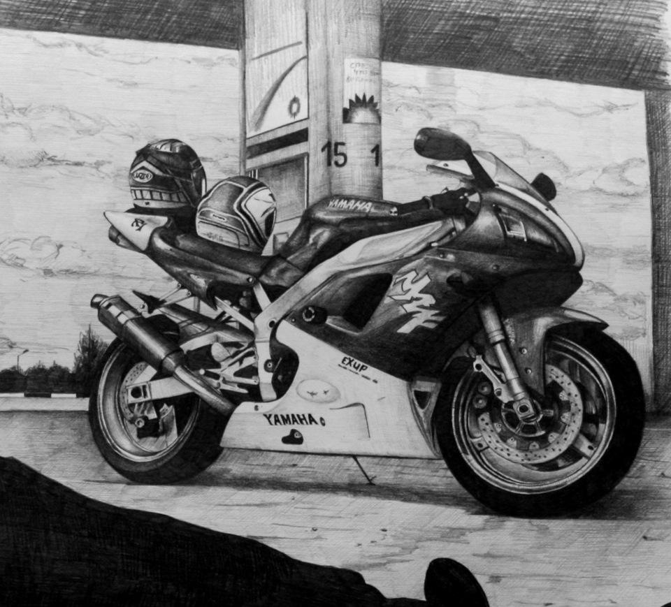 рисунки карандашом черно белые мотоцикла разберем