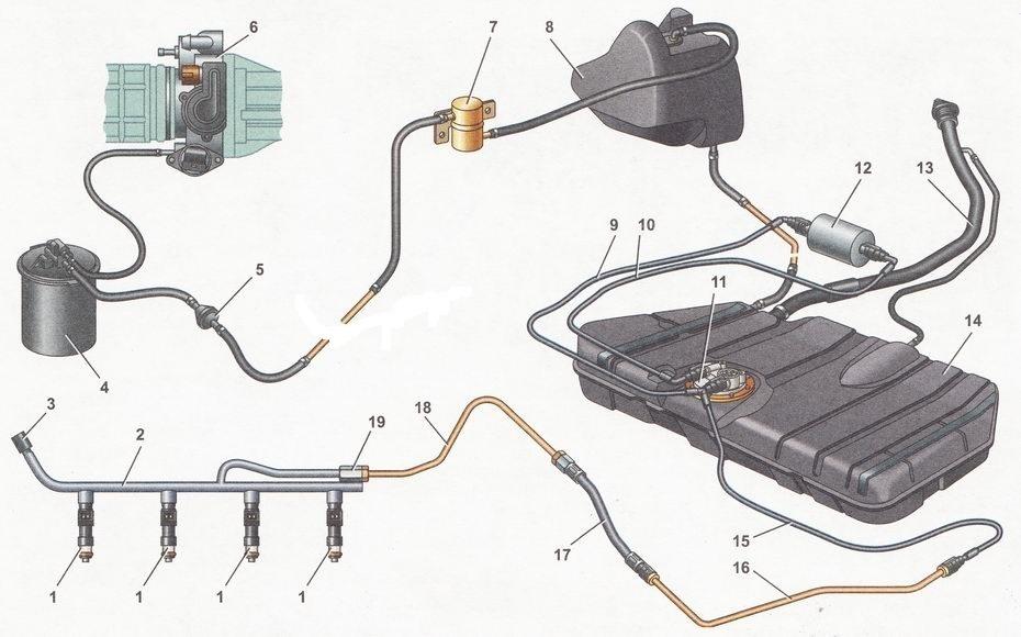 Схема подключения адсорбера в 2112