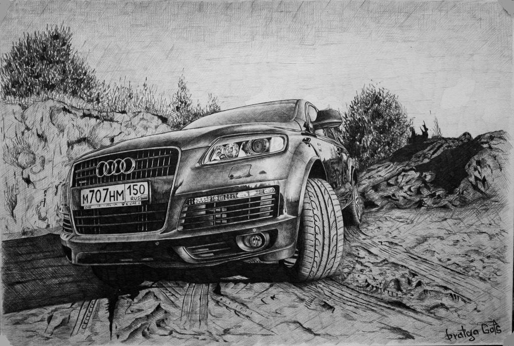 Фото нарисованные карандашом машины