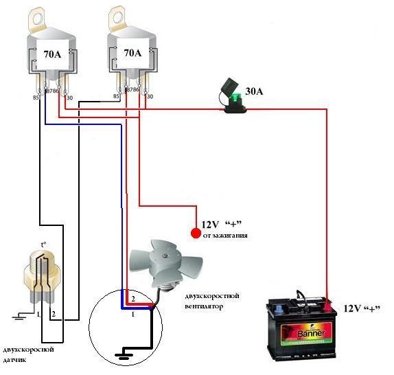 Электрическая схема подключения вентилятора реле