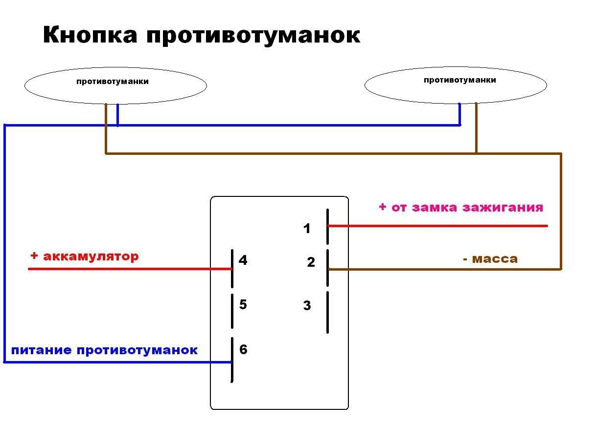 Схема подключения кнопки включения противотуманных фар