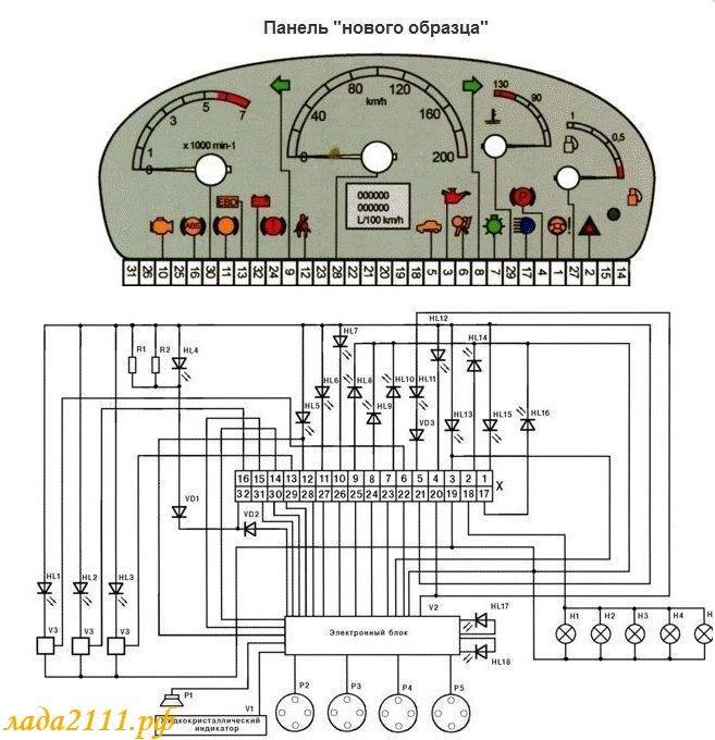 схема приборки приора, калина