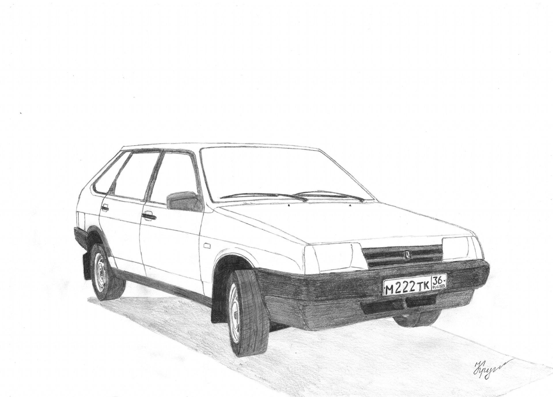 Картинки машины ваз нарисованные карандашом