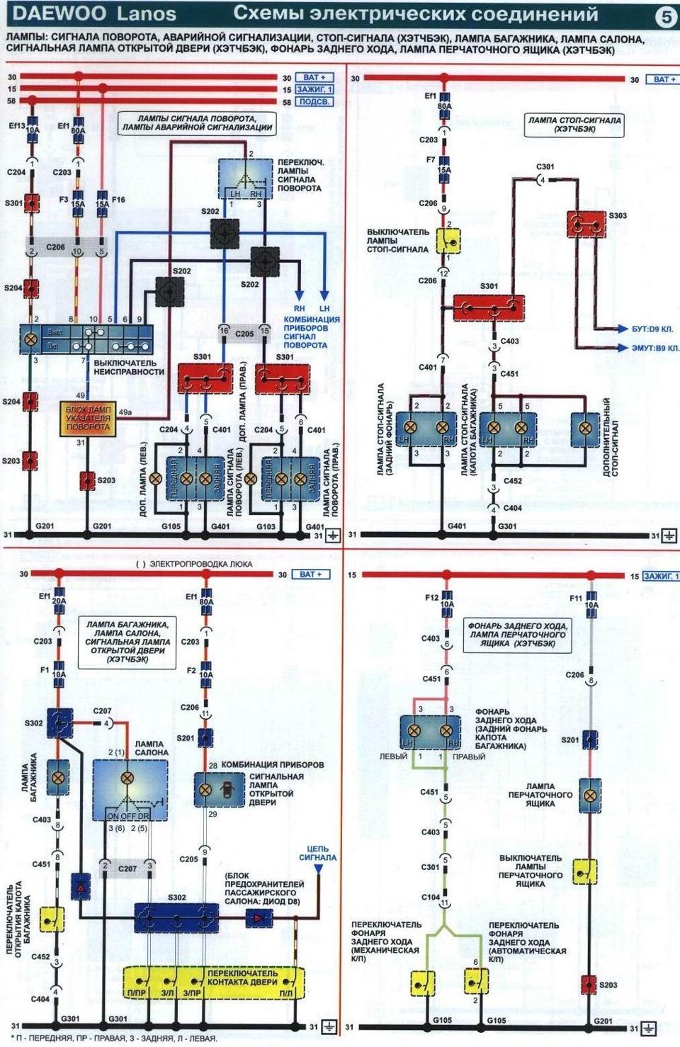Схема электропроводки ланос 1.5 фото