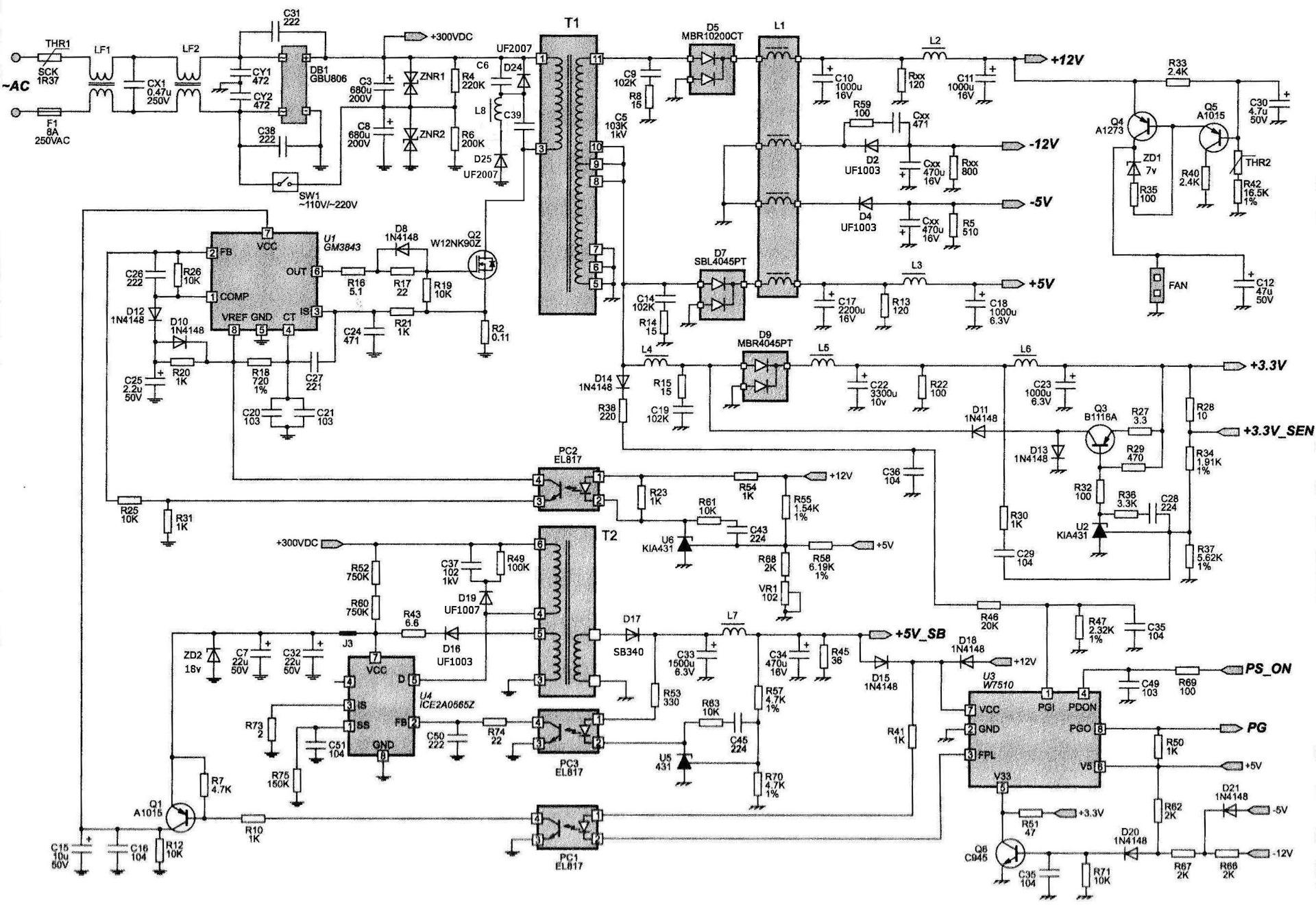 схема адаптера для ноутбука на fan7554