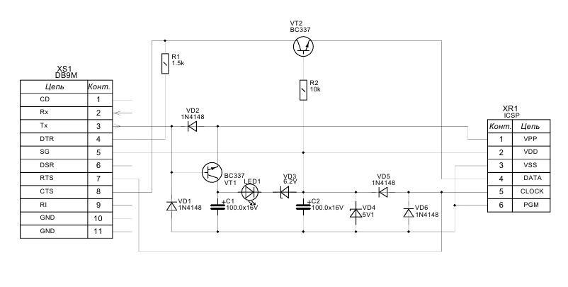 Схема ICSР программатора JDM
