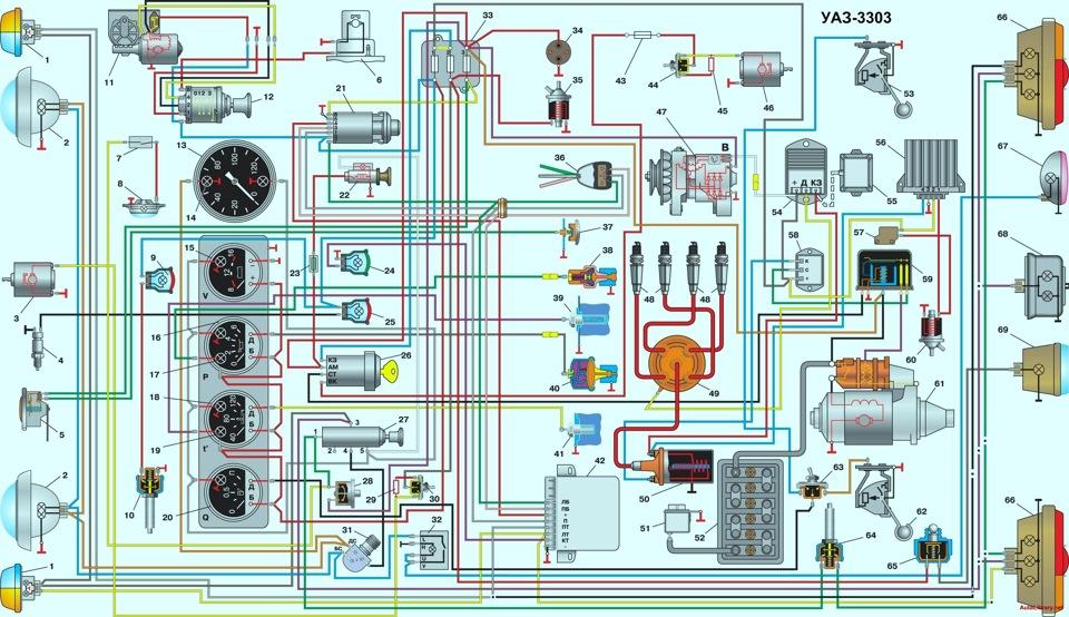 Схема электрооборудования автомобилей уаз 452.