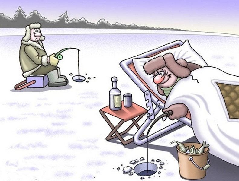 Зимняя рыбалка картинки прикольные