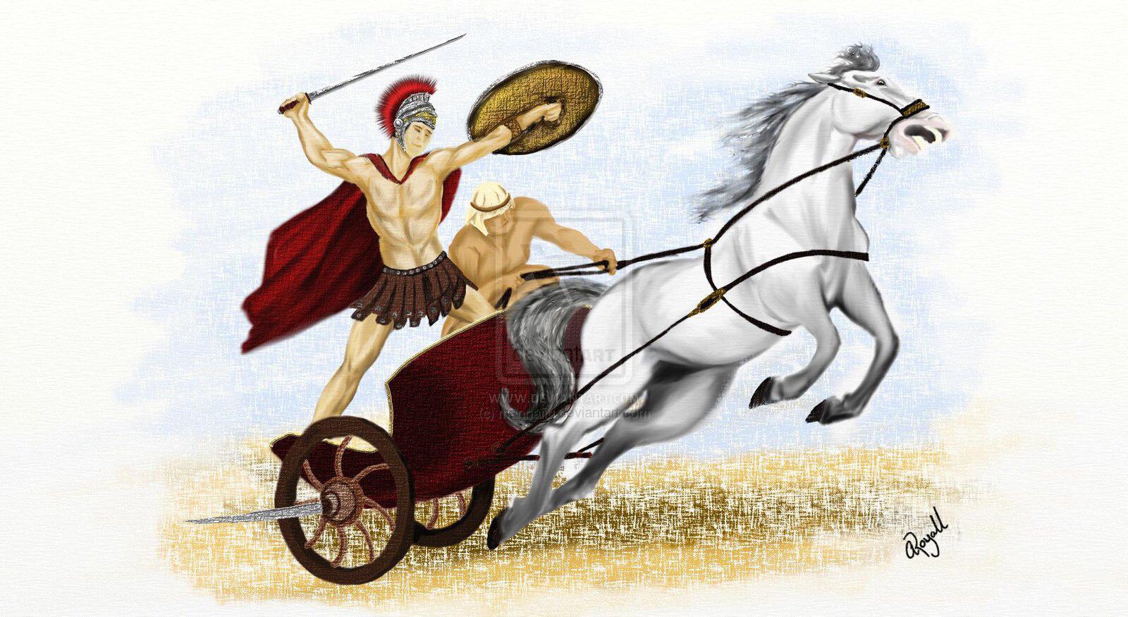 Картинка колесница с конями