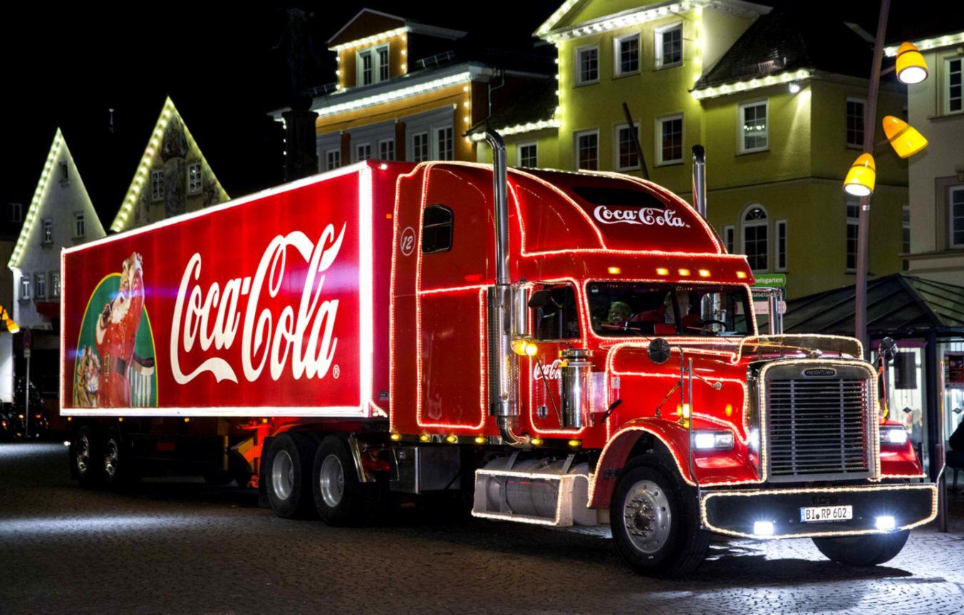 полностью красного картинка грузовика кока колы богача