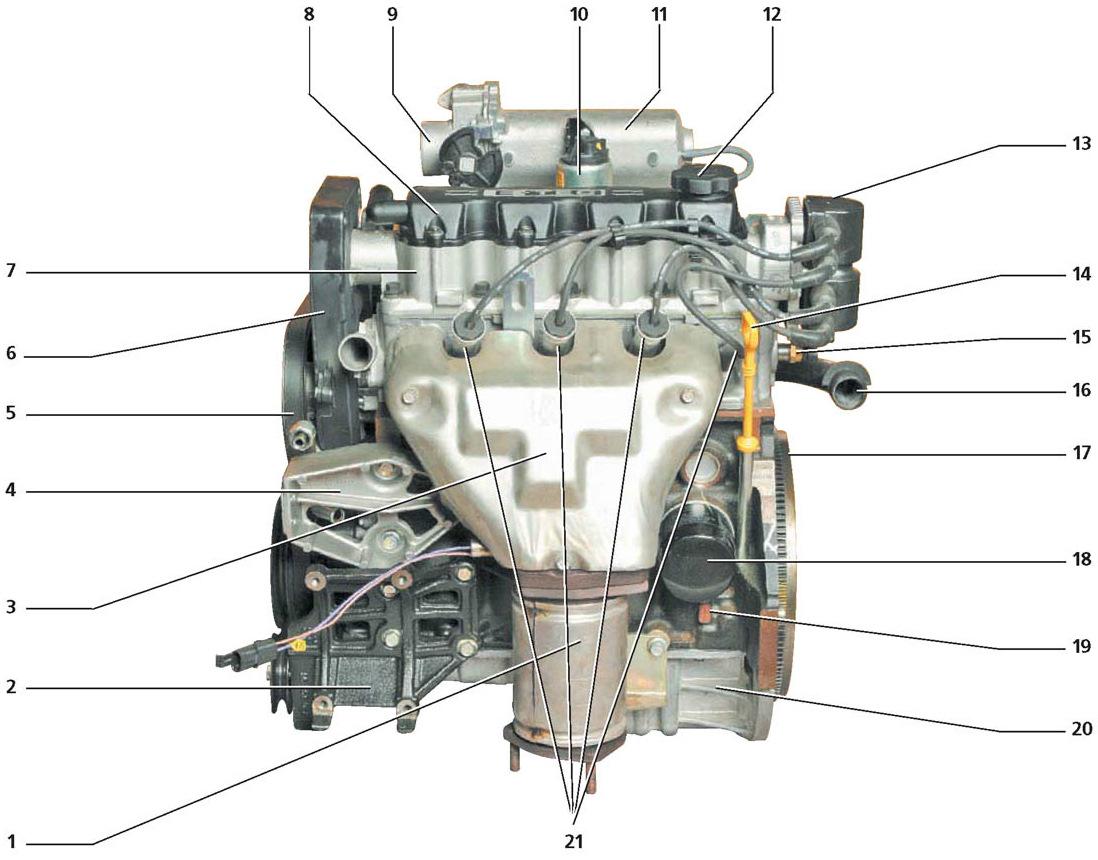 фото двигателя с описанием нексия лицевой стороне