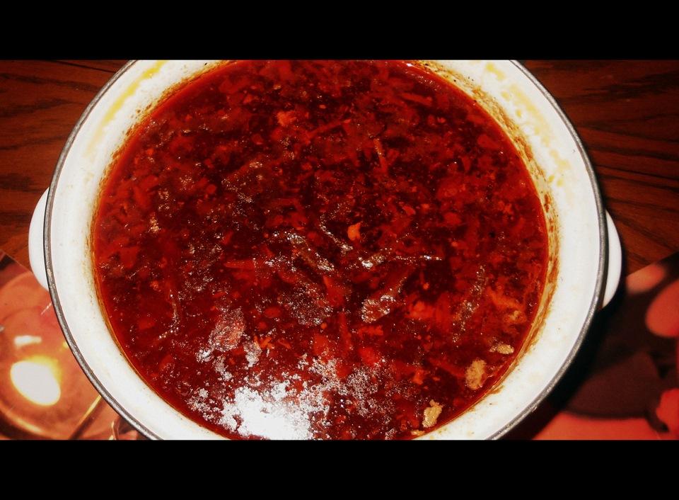 Борщ с мукой и томатной пастой
