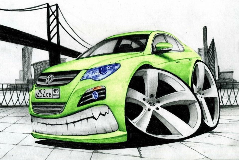 Пакеты подруге, рисунки смешных автомобилей