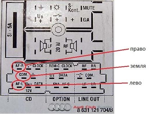 Телефон в ауди а6 схема
