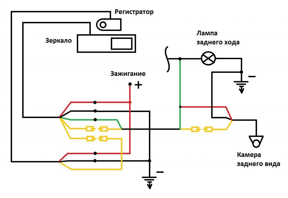 Схема подключения камеры к видеорегистратору