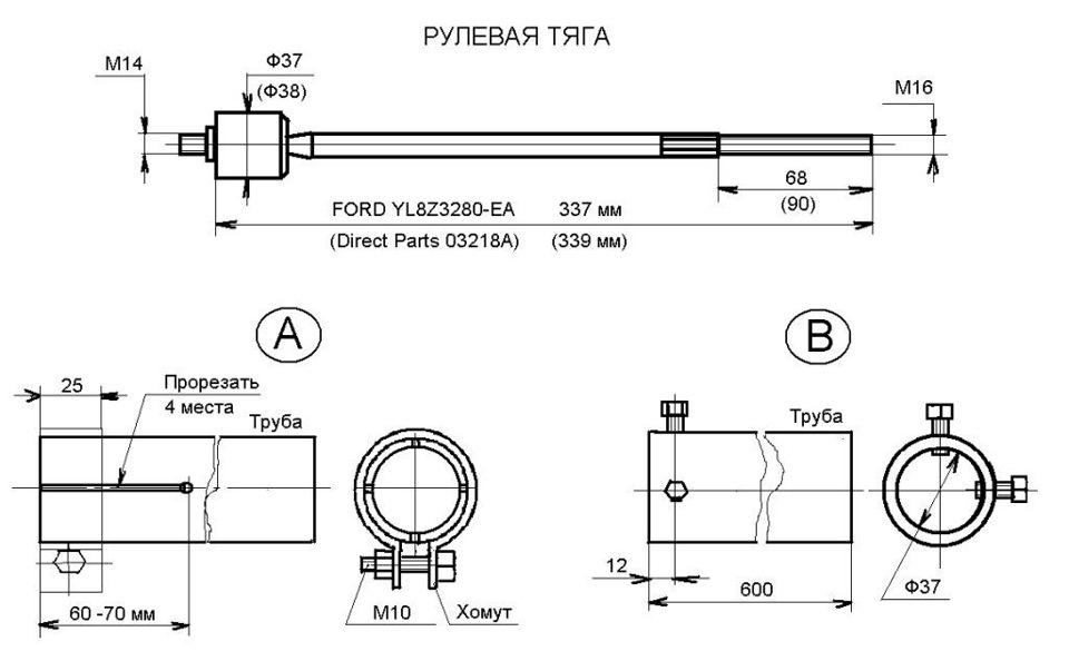 чертеж съемника рулевых тяг