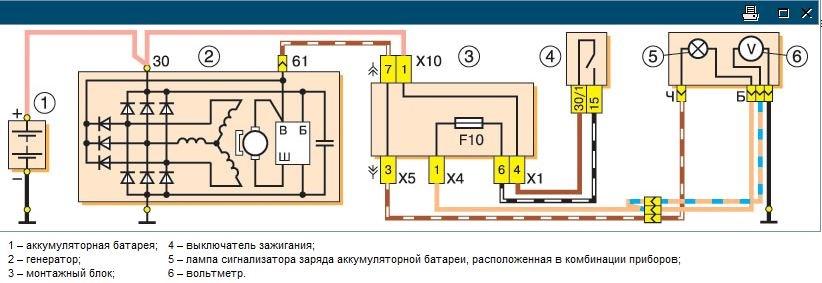 схема зарядки 2105 с геной 37
