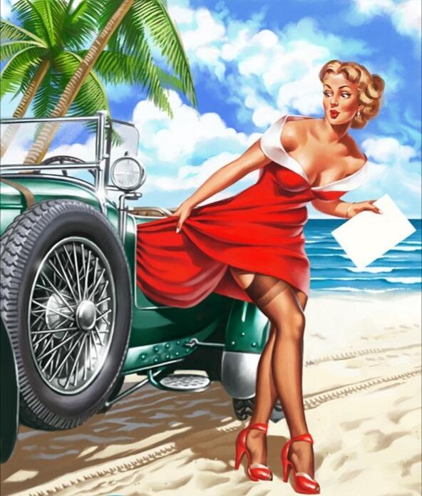 Открытка, открытка женщине за рулем