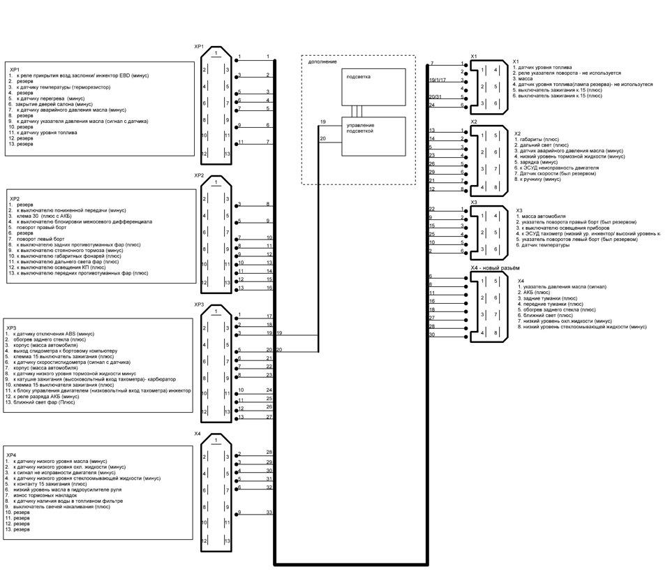схема подключения щитка приборов ваз 2101