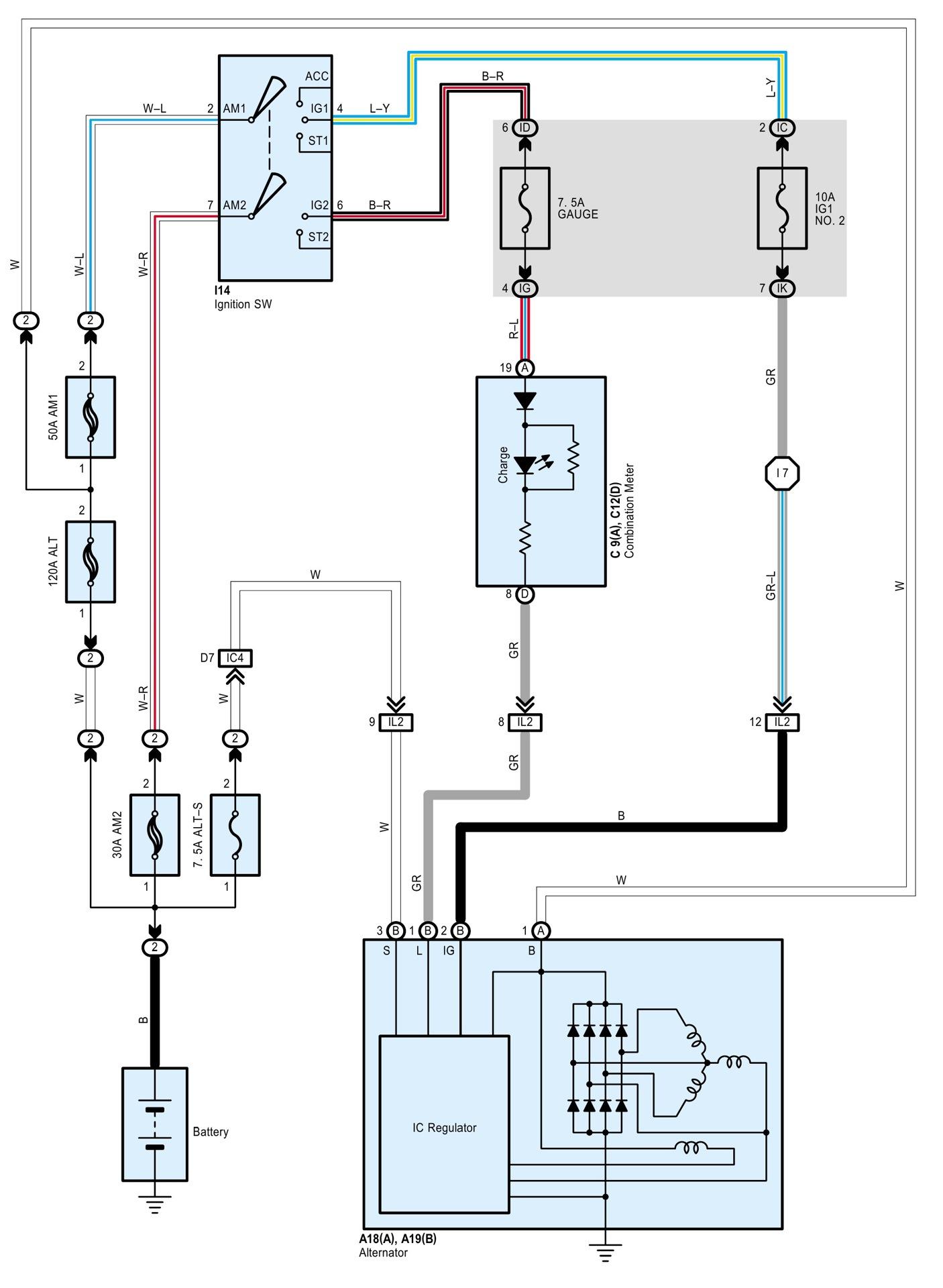 подключение генератор 3е toyota